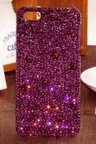 6s plus 6c Crystal Purple Sparkly diamond Hard Back Mobile phone Case Cover bling Rhinestone Case Cover for iPhone 4 4s 5 7plus 5s 6 6 plus Cover bling girly Rhinestone Case Cover for iPhone 4 4s 5 7plus 5s 6 6 plus