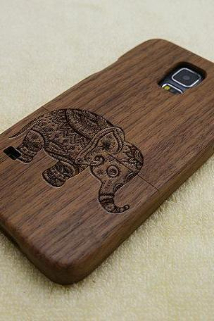 Elephant Galaxy S5 case, Wood Samsung Galaxy S5 case, natural wood phone case, elephant , laser engraving, real wood, Walnut