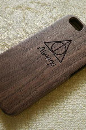 Wood iPhone 6 case, iPhone 6 Plus case, iPhone 6 cover, Deathly Hallows, laser engraving, real wood, wood iPhone case
