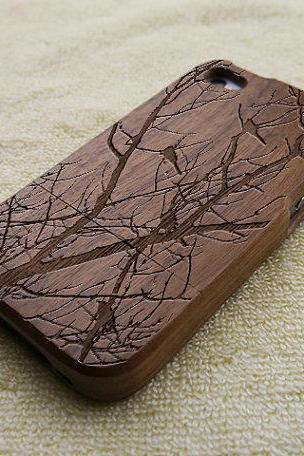 Cats phone case, Wood Galaxy S4 case, Cat Samsung Galaxy S4 case, natural wood case, cats, laser engraving, real wood, Walnut