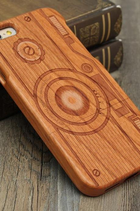 Luxury Natural Wood Wooden Bamboo Hard Cover Phone Case For Apple Iphone 6/6s/Plus, Camera