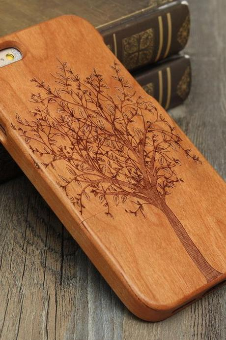 Luxury Natural Wood Wooden Bamboo Hard Cover Phone Case For Apple Iphone 6/6s/Plus, Tree