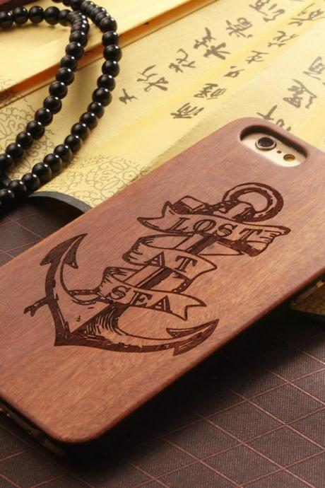 Luxury Natural Wood Wooden Bamboo Hard Cover Phone Case For Apple Iphone 6/6s/Plus, Anchor