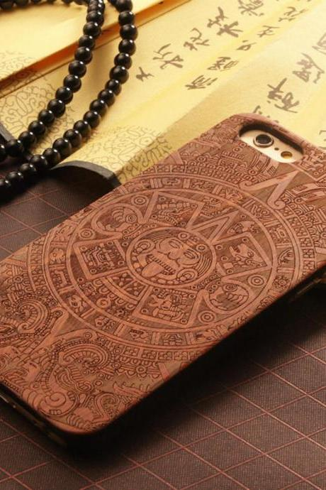 Luxury Natural Wood Wooden Bamboo Hard Cover Phone Case For Apple Iphone 6/6s/Plus, God Totem