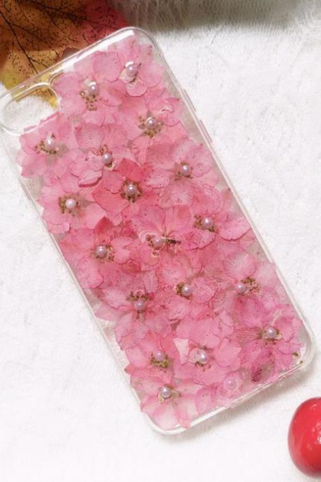 Pink Florals with Pearl Embellishments Clear iPhone Case