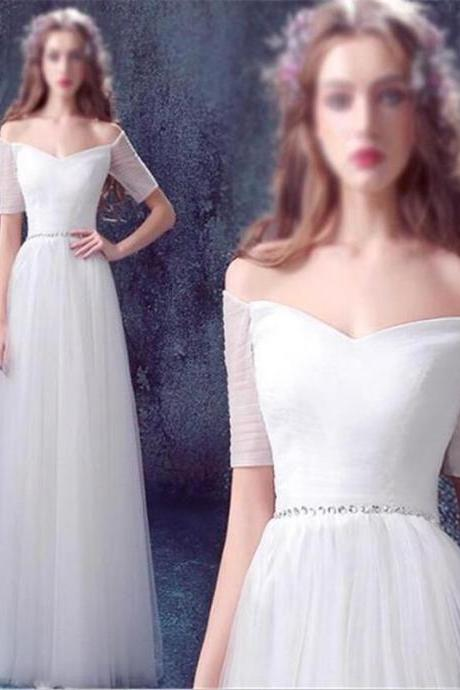White Wedding Dress ,Tulle Wedding Dress , Simple Wedding Dress , Off Shoulder Wedding Dress ,Floor-Length Wedding Dress ,A-line Wedding Dress ,Lace Up Back Wedding Dress ,Prom Dress,s,Homecoming Dress,