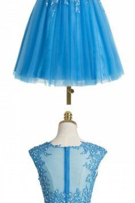 Two pieces Homecoming Dress,Blue Homecoming Dress,Popular Homecoming Dress, Junior Homecoming Dress with appliques,Graduation Dress , Homecoming Dress ,Prom Dress for Teens,s,Homecoming Dress,