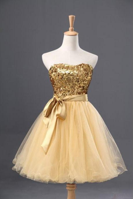 Sequin Homecoming Dress,Sleeveless Homecoming Dress,Tulle Homecoming Dress, Gold Homecoming Dress,Graduation Dress , Homecoming Dress ,Prom Dress for Teenss,Homecoming Dress,