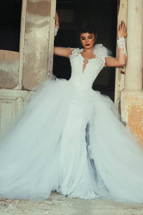 Wedding Dress, Detachable Train Wedding Dress, Open Back Wedding Dress, Long Sleeve Wedding Dress, Ball Gown Wedding Dress, Sexy Wedding Dress, Bridal Gown,