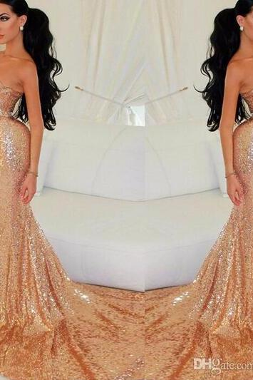 Prom Dress,gold Prom Dress, Mermaid Prom Dress, Detachable Train Prom Dress, Sexy Prom Dress, Pearls Prom Dress, Long Prom Dress,Heart neckline Prom Dress, See Through Back Prom Dress,