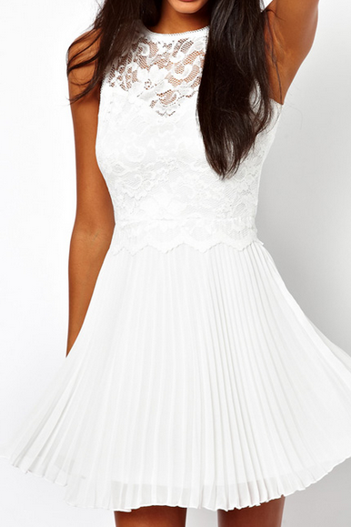 Slim white stitching lace halter dress WHITE LACE DRESS