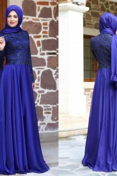 Vestido de Festa 2016 Vintage Muslim Evening Dress Long Sleeve Chiffon High Neck Lace Zipper Back pageant Gown robe de soiree