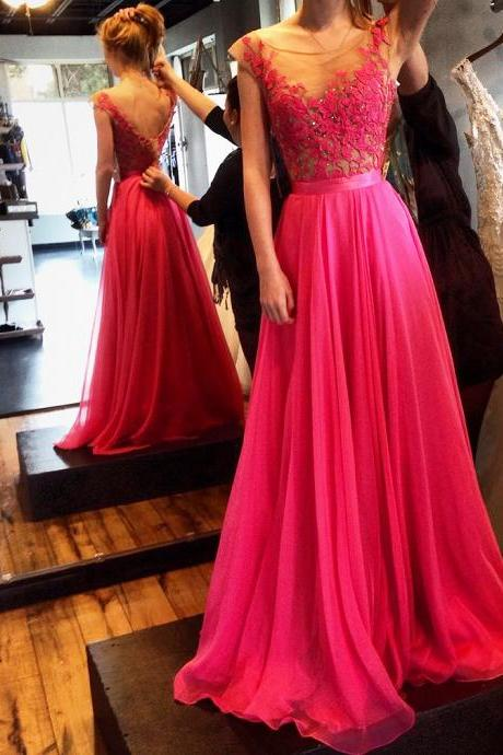 Evening Dresses,prom dress ,long prom dress ,lace prom dress O neck prom dress,V back prom dress ,party dress