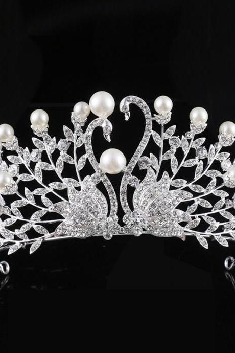 wedding jewelry , crown ,Diamond jewelry,Flash jewelryThe bride wedding banquet crown Korean crown pearl wedding dress headdressSwan, pearl crown