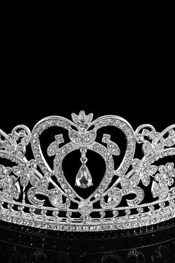 wedding jewelry , crown ,Diamond jewelry,Flash jewelryThe bride crown The queen costly diamond European crown princess large Wedding tiara wedding hair accessories