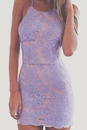 Prom Gown,Lavender Homecoming Dress,Lace Homecoming Dresses,Short Prom Gown,Homecoming Gowns, Homecoming Dress,Cheap Homecoming Dresses,backless Party Dress For Teens