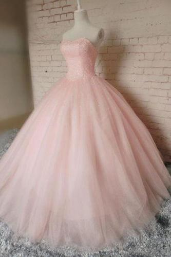 Pink Ball Gown Beading Prom Dress,Real Made High Quality Prom Dress,Wedding Dress,Long Prom Dresses,Evening Dress, Prom Gowns, Formal Women Dress,prom dress,Charming Prom Dresses