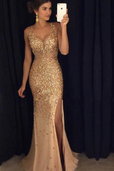 Prom Gown2017 Sexy Long Crystal Beaded Prom Dress With Slit Mermaid Prom Dresses Evening Gown Formal WearDress,Mermaid Prom Gown For Teens