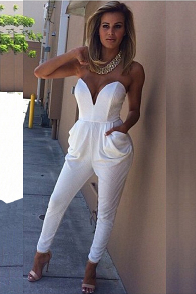Chic One Piece Strapless White Jumpsuit with Pockets Mini Dress,women dress women clothes,