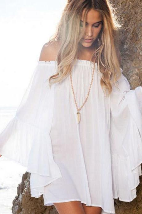 Off Shoulder Boho Chiffon Summer Dress