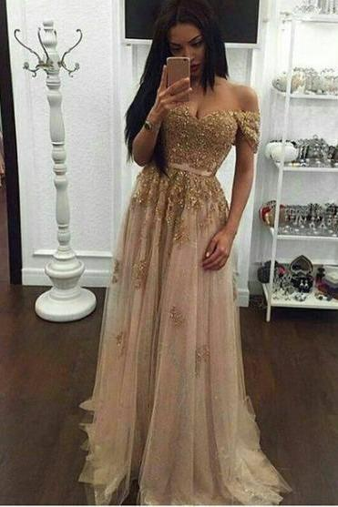 Gold Prom Dresses,Charming Evening Dress,Gold Prom Gowns,Gold Prom Dresses,New Prom Gowns,Off the shoulder Evening Gown,Lace Party Dresses