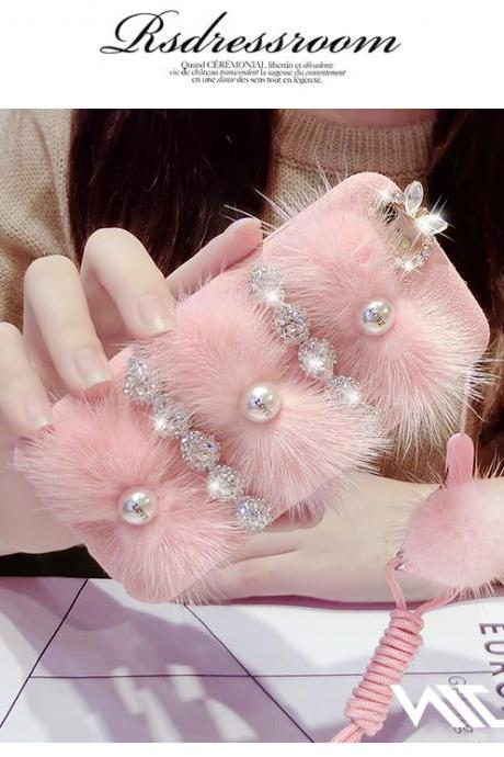 iphone case 6/6s/6plus , hang rope, female personality costly pearl diamond mink fur, iphone6splus following High-grade mink fur Costly pearl set auger flowers with hang rope drop