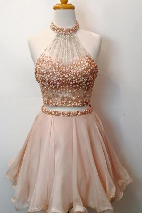 Two Piece Homecoming Dresses,Beaded Bodice Halter 2 Piece Short Prom Dresses,Sparkly Cocktail Dresses short prom dress ,
