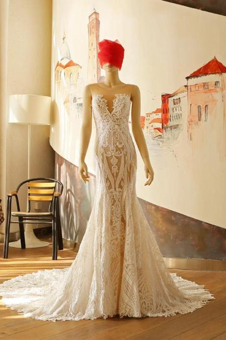 Lace wedding dress, custom wedding dress, 2017 new gown, shoulders wedding dress , white wedding dress, wedding dress, O neck wedding dress, sexy weding dress ,backless wedding dress