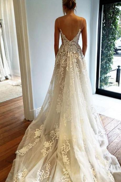 High Quality Wedding Dress,Wedding Dress 2017,Fashion Wedding Dress,Modest Wedding Dress,Sexy Deep V neck Wedding Dress,Open Back Lace Wedding Dress,Long Train Wedding Gown