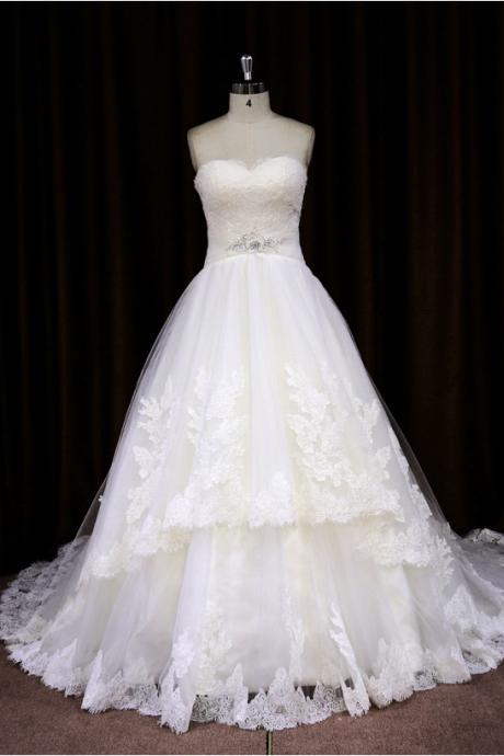 Princess Sweetheart Chapel Train Ball Gown Wedding Dress With Beaded Bodice