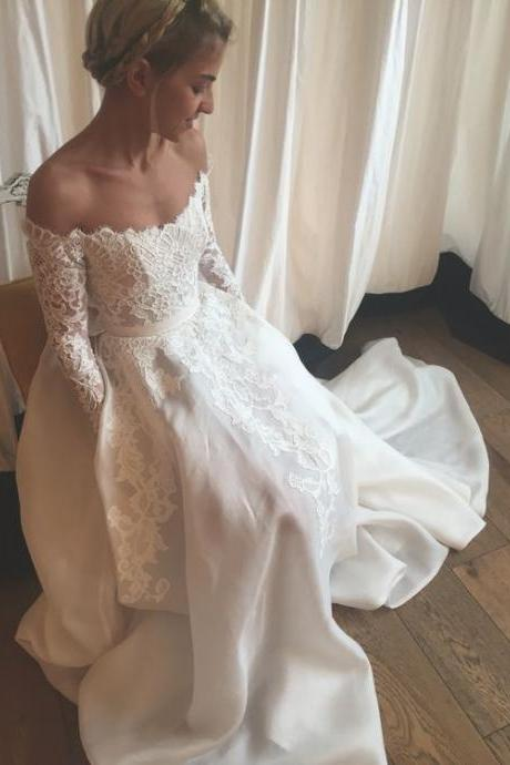 High Quality Wedding Dress,Off the Shoulder Wedding Dress,Long-Sleeves Prom Dress,Appliques Evening Dress