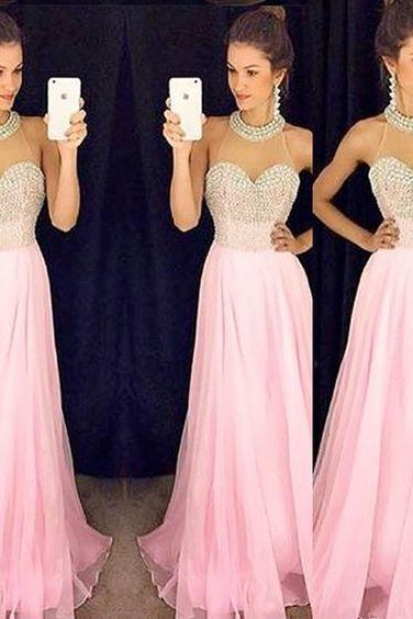 Pink Long Prom Dresses,Chiffon Prom Gowns,Pink Prom Dresses,Beaded Party Dresses,Long Prom Gown,Beading Prom Dress