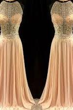 Prom Dresses,Beading Prom Dress,Formal Gown,Sexy Prom Dresses,Sexy Evening Gowns,Chiffon Formal Gown,Blush Pink Evening Party Gowns For Teens