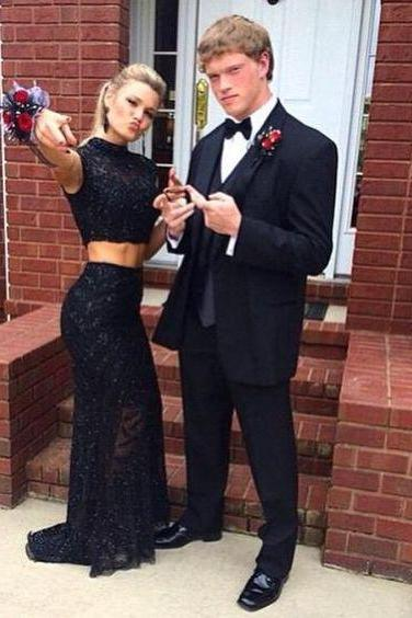 Prom Dresses,Beading Prom Dress,Black Prom Gown,2 Pieces Prom Gowns,Elegant Evening Dress,Evening Gowns,2 Piece Evening Gowns,Mermaid Lace Prom Dress