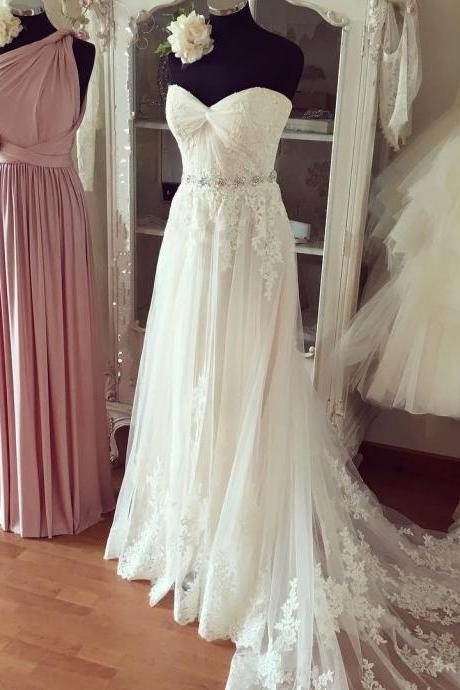 Wedding Dresses,Lace Wedding Gowns,Bridal Dress,Wedding DressWedding Dresses, Wedding Gown,Pleated Sweetheart Lace Appliques Beach Wedding Dresses Boho Wedding Gowns