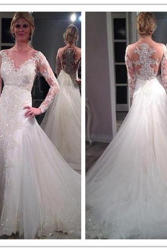 Wedding Dresses,Lace Wedding Gowns,Bridal Dress,Wedding Dress,Brides DressWhite Wedding Dresses,Long Sleeves Wedding Gown,Lace Wedding Gowns,Mermaid Bridal Dress,2016 Princess Wedding Dress,Beautiful Brides Dress,Wedding Gowns For Spring Summer