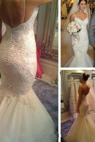 Wedding Dresses,Lace Wedding Gowns,Bridal Dress,White Wedding Dresses,Mermaid Wedding Gown,Lace Wedding Gowns,Lace Bridal Dress,Backless Wedding Dress,Mermaid Brides Dress,Open Backs Wedding Gowns,Open Back Wedding Dress With Spaghetti Straps