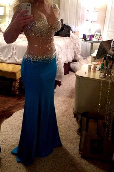 Mermaid Prom Gown,Royal Blue Prom Dresses,Royal Blue Evening Gowns,Beaded Party Dresses,Chiffon Evening Gowns,Backless Formal Dress For Teen