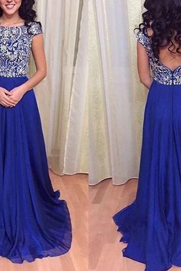 Royal Blue Prom Dresses,Royal Blue Prom Dress,Silver Beaded Formal Gown,Beadings Prom Dresses,Evening Gowns,Chiffon Formal Gown For Senior Teens
