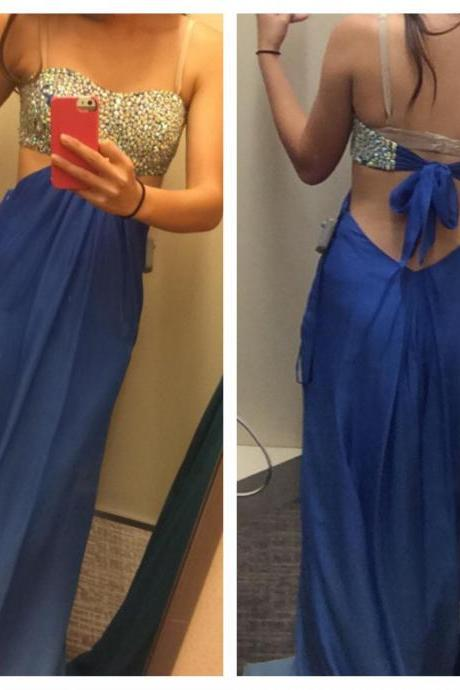 A line Prom Gown,Open Back Prom Dresses,Royal Blue Evening Gowns,Beaded Party Dresses,Sweetheart Evening Gowns,Backless Formal Dress For Teen