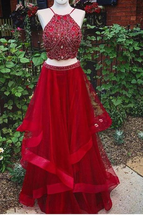 Red Prom Dresses,2 Piece Prom Gown,Two Piece Prom Dresses,Satin Prom Dresses,New Style Prom Gown,Prom Dress,Backless Prom Gowns