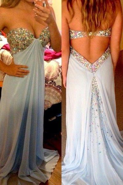 Backless Prom Dresses,Light Blue Prom Dress,Open Back Formal Gown,Open Backs Prom Dresses,Sexy Evening Gowns,Chiffon Formal Gown For Teens