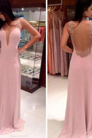 Pink Backless Prom Dresses, Open Back Prom Gowns, Pink Prom Dresses 2016, Party Dresses 2016,Long Prom Gown,Open Backs Prom Dress