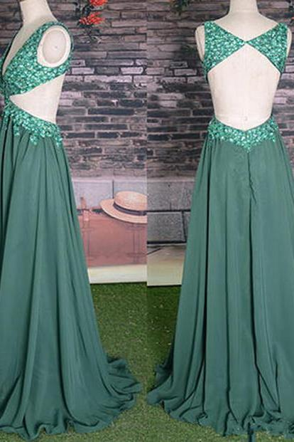 Backless Prom Dresses,Open Back Prom Dress, beaded prm dress,geeen p[rom dress ,chiffon prom dress ,Straps Prom Gown,Sparkly Prom Gowns,Elegant Evening Dress,Sparkle Evening Gowns,Green Evening Gowns,Sexy Prom Dress
