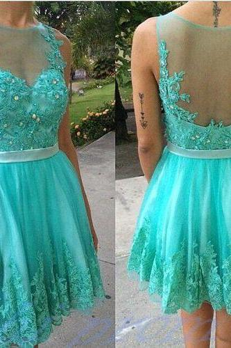Turquoise Homecoming Dress With Lace Short Prom Gown,Backless Homecoming Gowns,Open Backs Homecoming Dress,Cute Homecoming Dresses,2017 Evening Dress