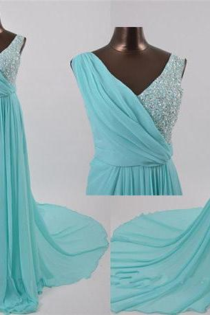 Blue Prom Dresses,A-Line Prom Dress,Beading Prom Dress,V neck Prom Dress,Chiffon Prom Dress,Simple Evening Gowns,Cheap Party Formal Gowns For Teens