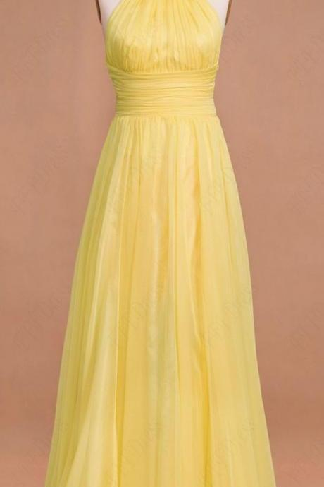 Yellow Prom Dresses,Prom Gown, Evening Dress,Chiffon Prom Dress,Sexy Evening Gowns,Yellow Formal Dress,Wedding Guest Prom Gowns,2017 Evening Gowns