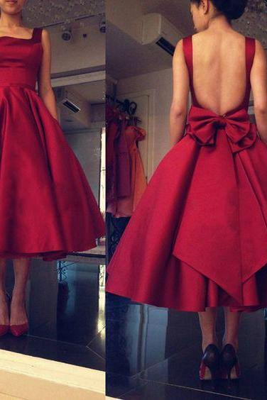 Burgundy Homecoming Dress,knee length Homecoming Dresses,Short Prom Dress,Open Back Sweet 16 Dress,Homecoming Dresses,Open Backs Formal Gown