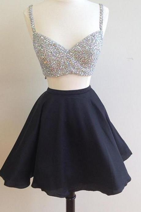 Homecoming Dress,beaded top black satin two piece homecoming dresses 2017 semi formal dress