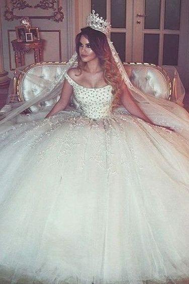 Beaded Embellished Off-The-Shoulder Floor Length Tulle Wedding Gown